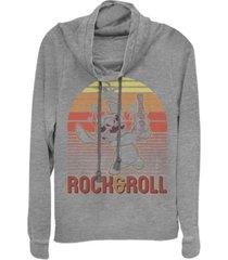 fifth sun juniors disney lilo stitch rock and roll stitch fleece cowl neck sweatshirt