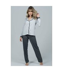 pijama feminino bella fiore modas longo com botões imperium cinza