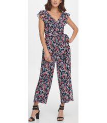 dkny double ruffle v-neck jumpsuit