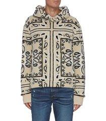 bandana print fleece hoodie