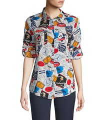 whimiscal button-front blouse