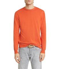 men's eleventy slim fit cotton crewneck sweater, size large - orange