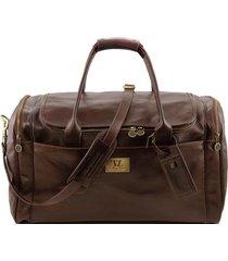 tuscany leather tl141281 tl voyager - borsone viaggio in pelle con tasche laterali - misura grande testa di moro