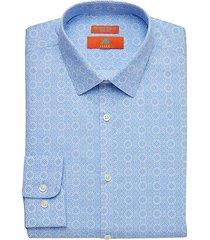 egara orange men's extreme slim fit dress shirt blue medallion print - size: 16 1/2 32/33