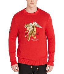 avirex men's regular-fit embroidered tiger sweater
