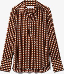 proenza schouler white label multicolor gingham georgette long sleeve blouse ecr/blk/trractta med ging/orange 10