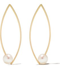 lia di gregorio 18kt yellow gold pointed oval pearl earrings