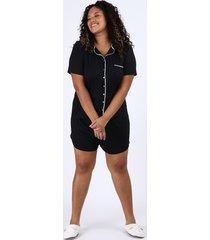 pijama feminino plus size camisa com vivo contrastante e bolso manga curta preto