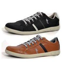 kit 2 pares sapatenis casual top franca shoes preto / camel