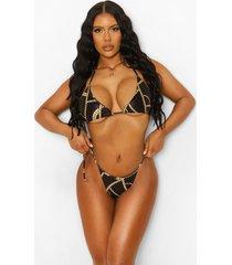 asymmetrisch kettingprint bikinibroekje met zijstrikjes, black