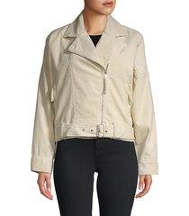 lost + wander women's notch-lapel corduroy moto jacket - cream - size l