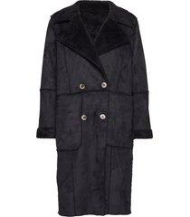 visherling faux sherling coat wollen jas lange jas zwart vila