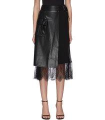faux leather midi wrap skirt