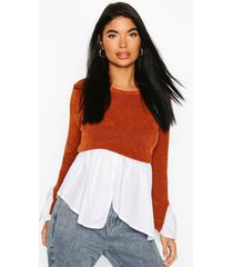 petite chenille 2 in 1 layered shirt sweater, rust