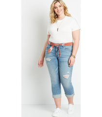 maurices plus size jeans womens vintage destructed belted boyfriend cropped jeans blue