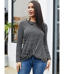 yoins black stripe twist diseño crew cuello camiseta de manga larga
