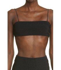 toteme smocked bikini top, size large in black at nordstrom