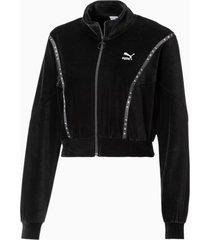 cropped velour full zip sweater voor dames, zwart, maat xxs | puma