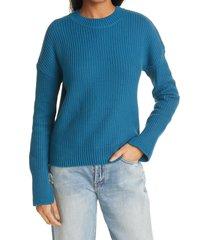 women's rta wilson shaker stitch cotton pullover, size large - blue