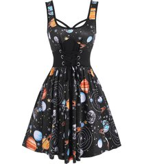 galaxy planet print lace-up casual tank dress