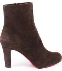 christian louboutin top 70 suede ankle boots brown sz: 7