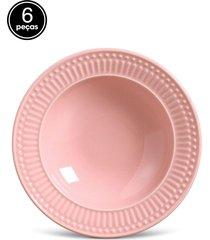 conjunto 6pçs pratos fundos 22cm porto brasil roma rosa