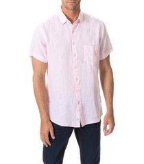 men's rodd & gunn regular fit ellerslie linen shirt, size small - pink