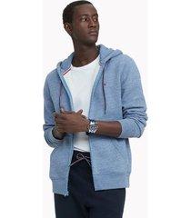 tommy hilfiger men's essential solid zip hoodie fleet blue heather - xxl