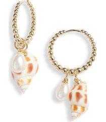 women's kendra scott oleana shell drop huggie hoop earrings