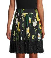 dolce & gabbana women's pleated floral skirt - black - size 40 (6)