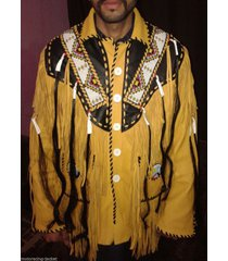 western fringed cowboy native american indian fringe bones jacket xs to 5xl