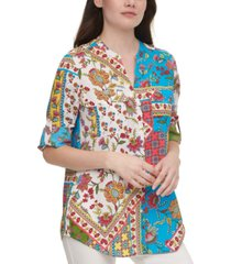 calvin klein printed roll-sleeve shirt