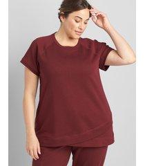 lane bryant women's livi french terry short-sleeve sweatshirt 34/36 zinfandel