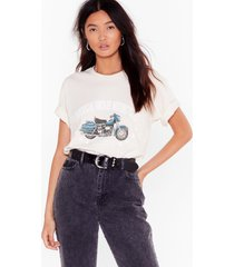 womens american vintage motorcycles graphic tee - natural