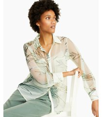 alfani petite printed sheer shirt, created for macy's