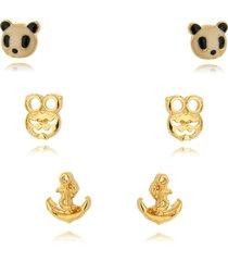 kit brincos lua mia joias panda banho ouro