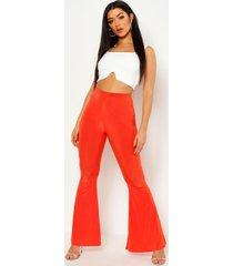 basic nauwsluitend skinny broek met hoge taille en uitlopende pijpen, oranje