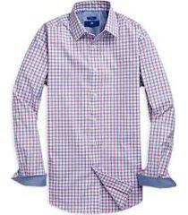 egara pink & blue grid sport shirt