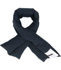 jil sander padded logo patch scarf - blue