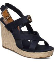 basbasic hardw hi wedge sandal sandalette med klack espadrilles svart tommy hilfiger