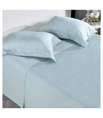 jogo de cama 300 fios casal 100% algodáo penteado toque acetinado cidreira - tessi.