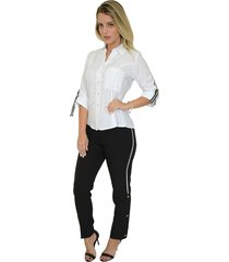 camisa mamorena manga 3/4 det. fita branca