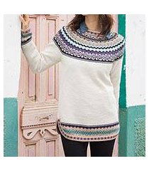 100% alpaca pullover, 'snowy in the andes' (peru)