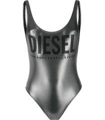 diesel metallic finish logo detail swimsuit - silver