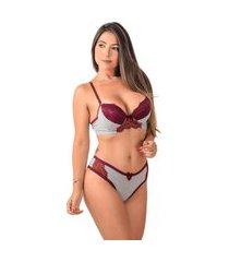 conjunto lingerie mescla conforto - cjbly005-rose-p bordô