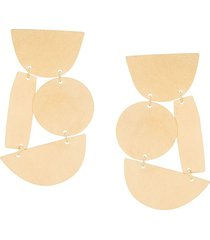 annie costello brown geometric oversized earrings - metallic