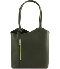 tuscany leather tl141455 patty - borsa donna convertibile a zaino in pelle saffiano verde scuro