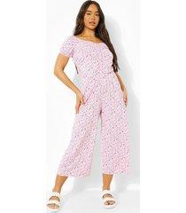 bloemenpatroon culotte jumpsuit met hartvormige hals, pink