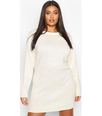 plus crew neck long sleeve dress, ivory