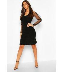 bardot ruched mini dress with spot mesh sleeve, black